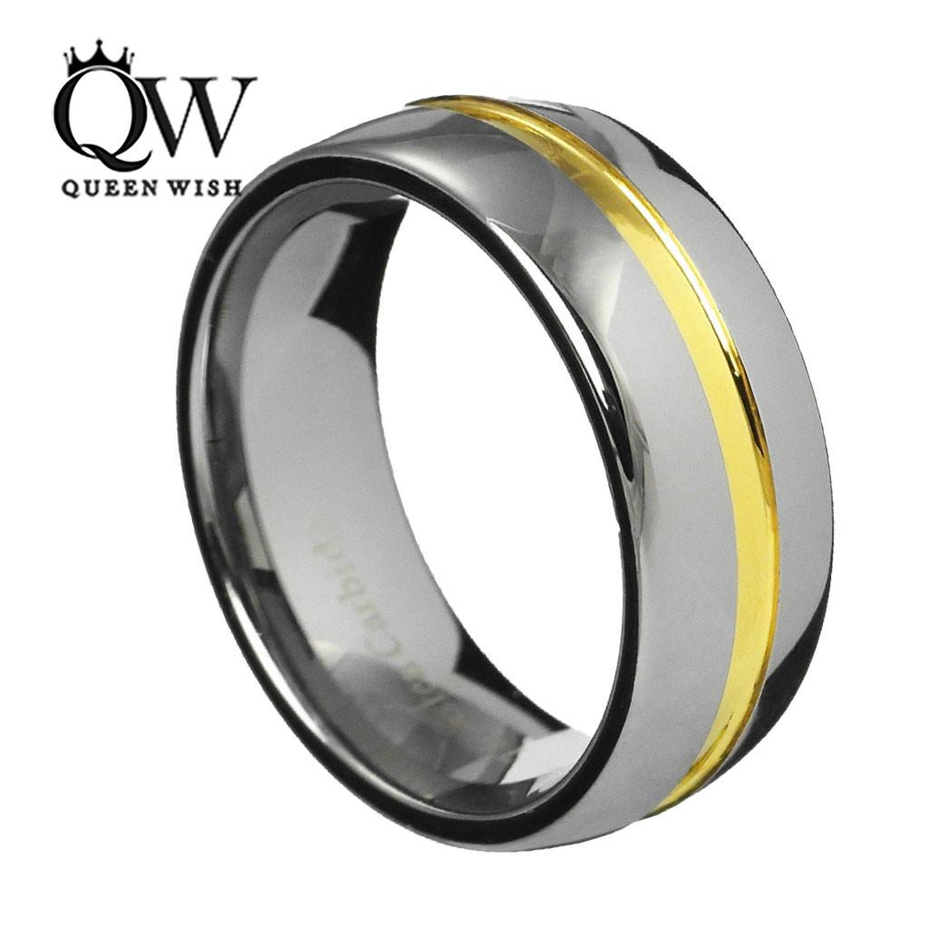 2017 Queenwish 8mm Dome Tungsten Carbide Two Tone Wedding Ring