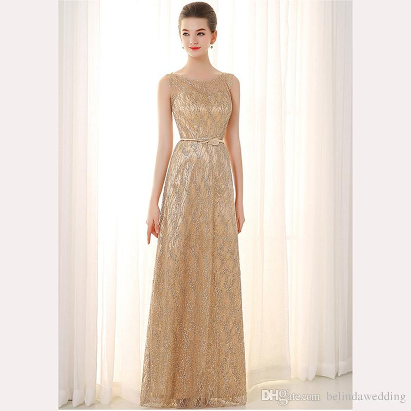 2017 Rose Gold Bridesmaid Dresses Long Sequins Maid Of Honor ...