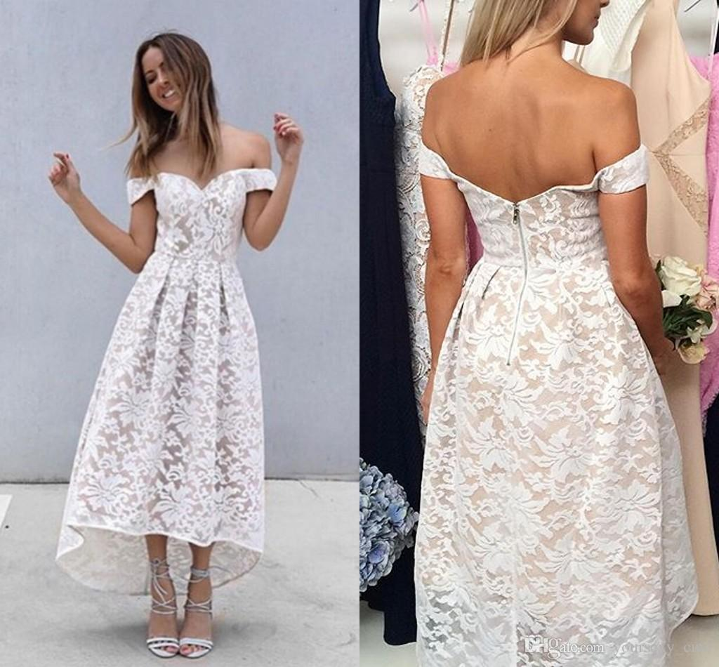 2017 cheap lace beach bridesmaid dresses off shoulder tea length 2017 cheap lace beach bridesmaid dresses off shoulder tea length white backless party dresses summer black high low prom dress fast shipping beach ombrellifo Choice Image