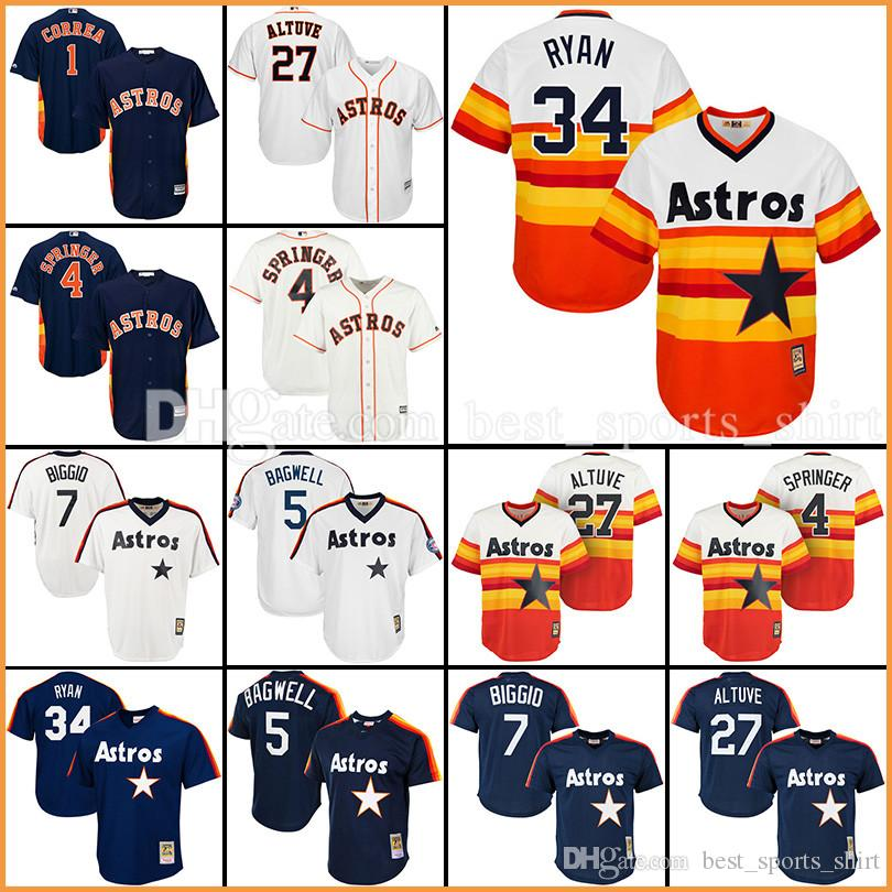 Houston Astros 34 Nolan Ryan Maillots de Baseball MLB 5 # Jeff Bagwell 4 George