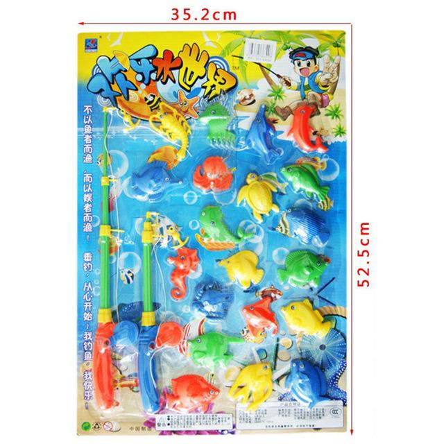 2018 wholesale 2 fishing rods fish magnetic fishing toys for Fishing toy set