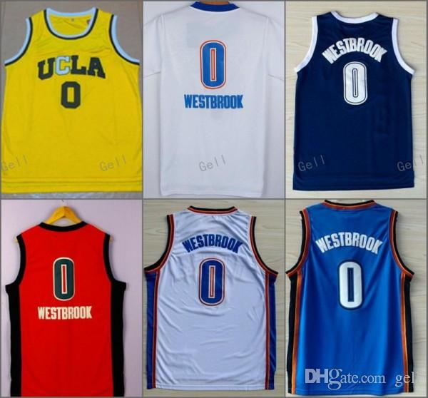 Stitched NCAA UCLA Bruins College 0 Russell Westbrook Hot Sale Jersey Shirt Thro