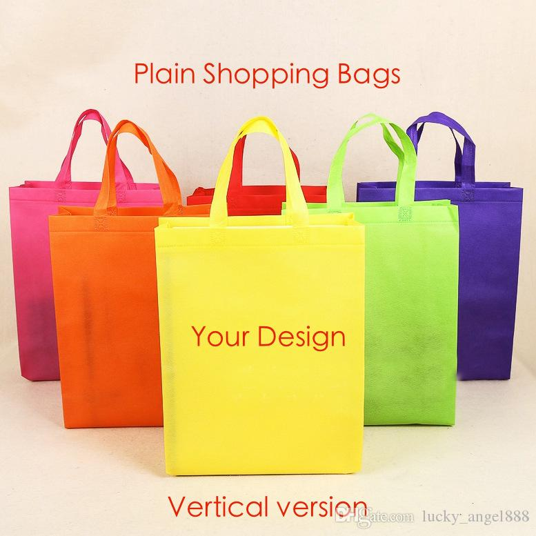Candy Color Plain Non-woven Vertical Version Bags Custom Tote Bags ...