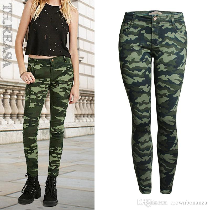 women plus size army green skinny jeans for women femme camouflage
