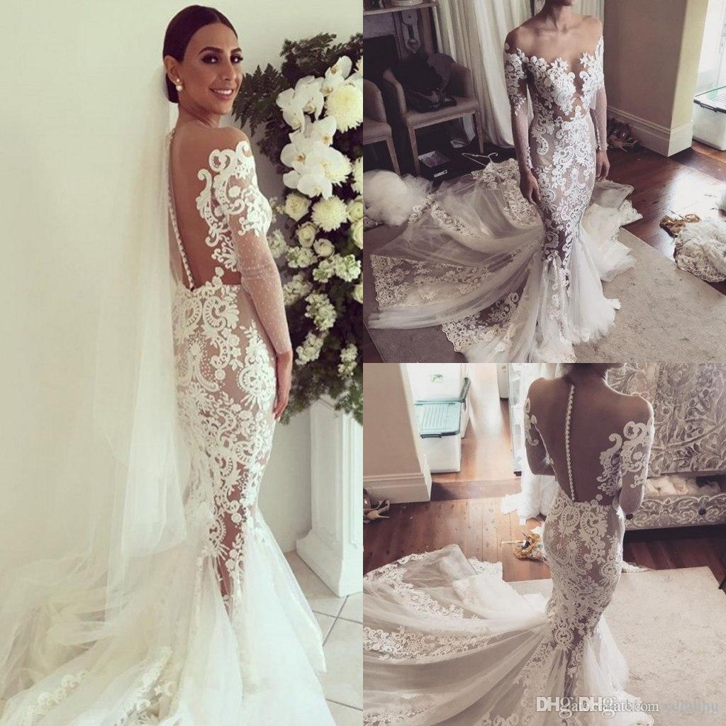 2017 new design lace mermaid wedding dresses with cathedral train 2017 new design lace mermaid wedding dresses with cathedral train long illusion sleeves button transparent back wedding gowns custom made wedding dresses ombrellifo Gallery