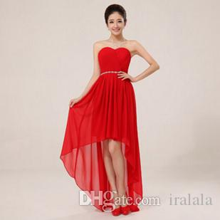 Red Evening Strapless Sweetheart Dress Chiffon front Short And ...