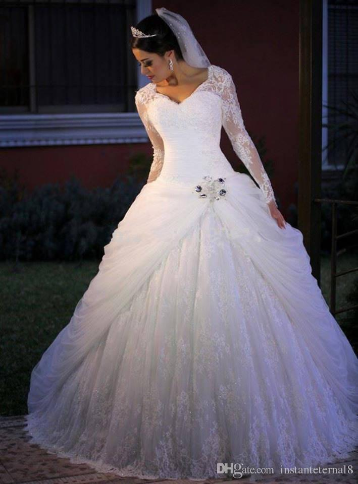 Long Sleeve Lace Corset Ball Gown Wedding Dresses Plus