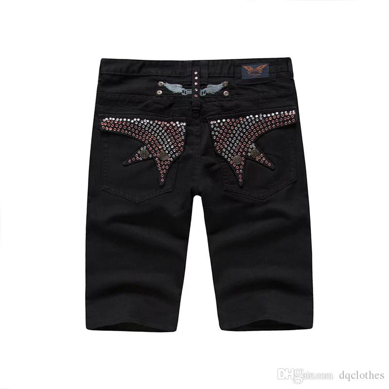 Mens Robin Beads Black Shorts Designer pour homme Jean Cowboy Denim Short Pantal