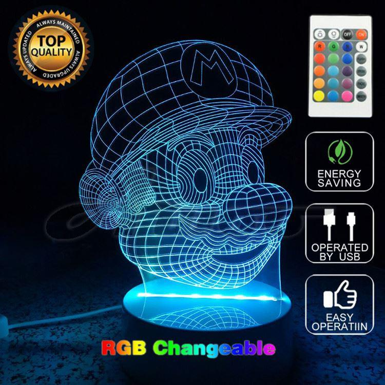 Super Mario Bros Action Figure Toy Décoration Lumière LED Couleurs USB Changeabl
