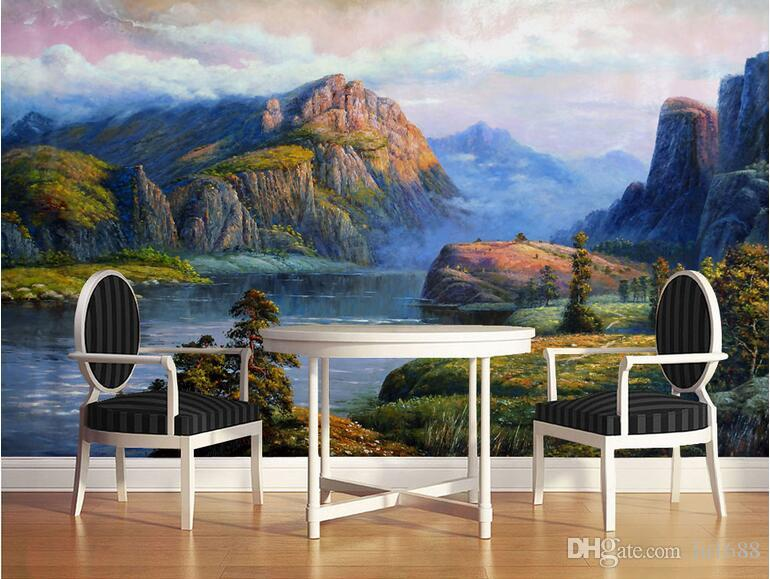 Realistic landscape oil paintings valley spring large for Ash wallpaper mural