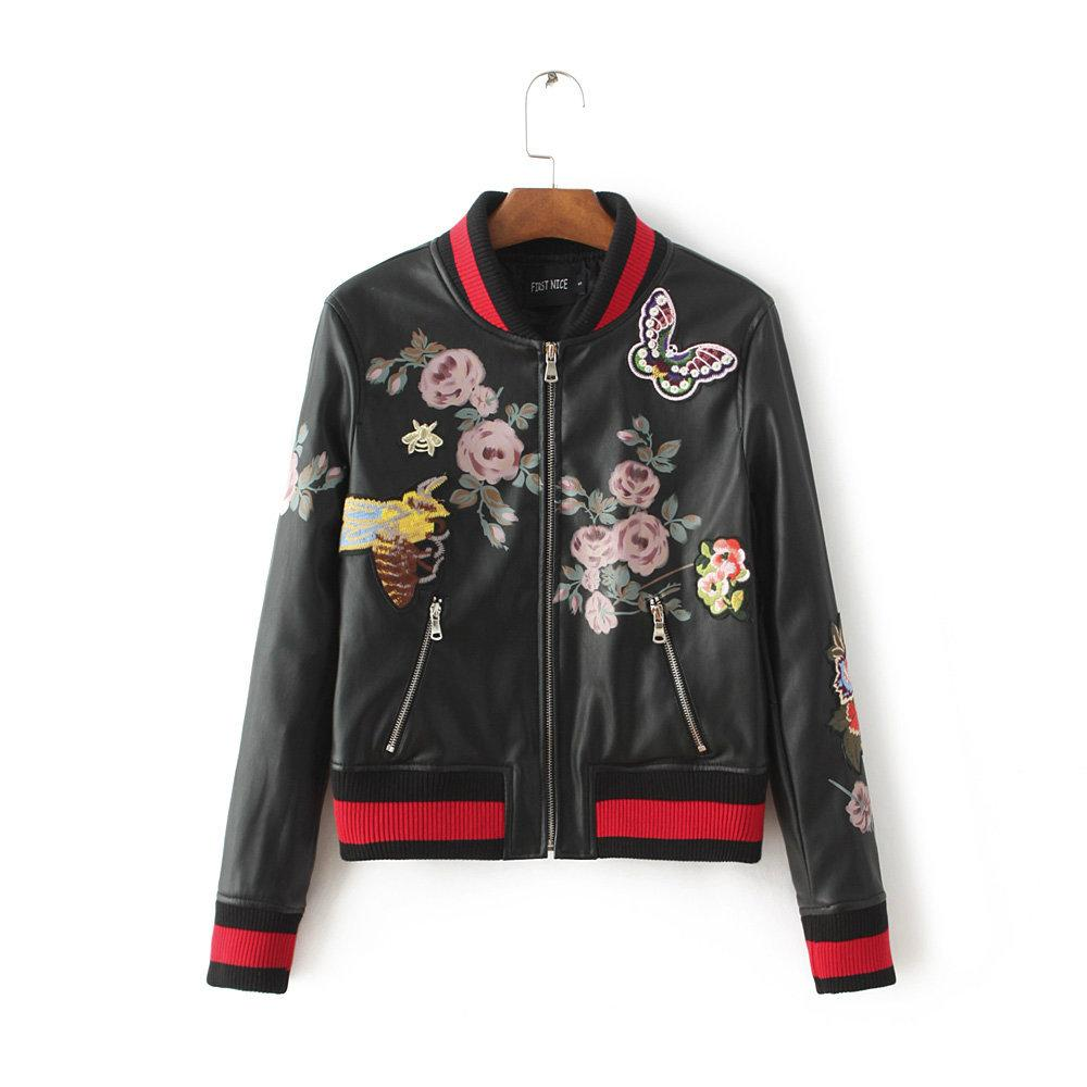 Leather jacket europe - Wholesale 2016 Hot Europe Winter Flower Bees Butterfly Embroidery Pu Leather Jacket Women 2016 Fashion