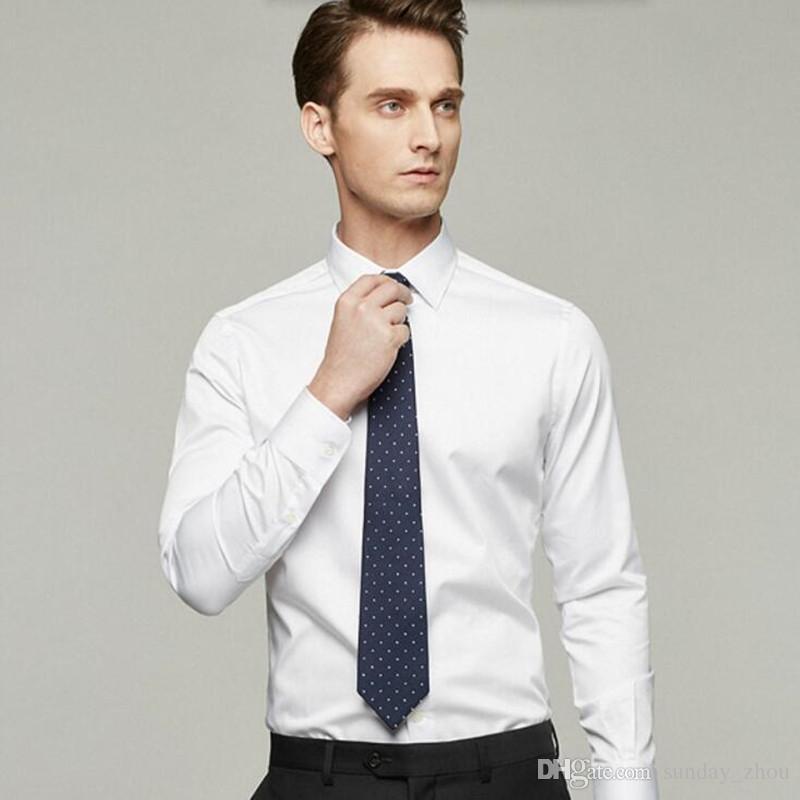 men shirt tailor made white groom dress shirt solid color