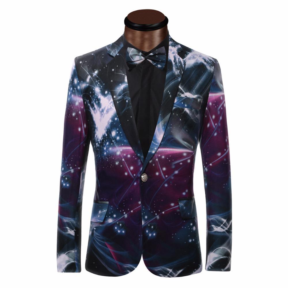 2018 Wholesale Galaxy Printed Blazer Men Business Casual ...
