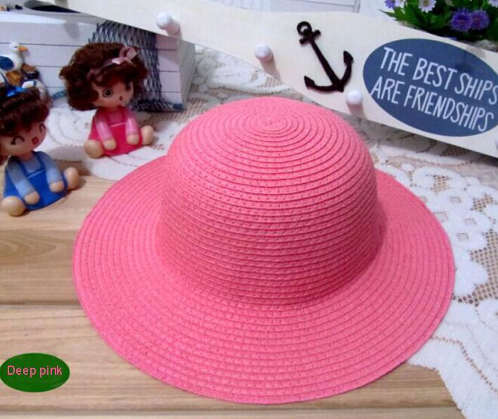 Outdoor kids sun hats fashion summer wide brim children sunshine chapeaux de pai