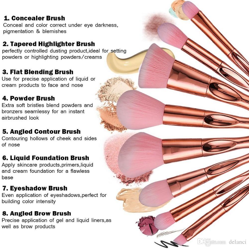 Makeup Brushes Rose Gold Handle Makeup Brush Set Synthetic Hair Foundation  Contour Powder Makeup How To