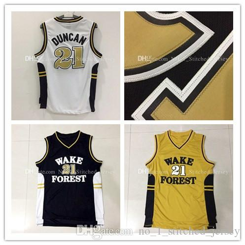 Wake Forest Demon Deacons Tim Duncan # 21 Maillots de basket-ball Hommes Rev 30