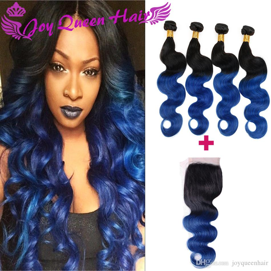 Complete weave pack human hair weaves weaves blue hair weave brazilian human hair wave closure ombre 1b blue body wave hair pmusecretfo Choice Image