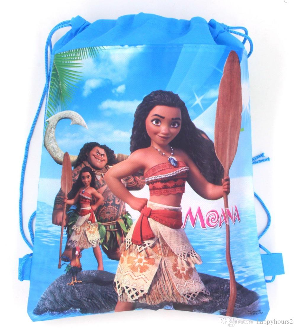 12PCS 2 design Cartoon Moana double face non tissé Printed Bundle Drawstring Bag