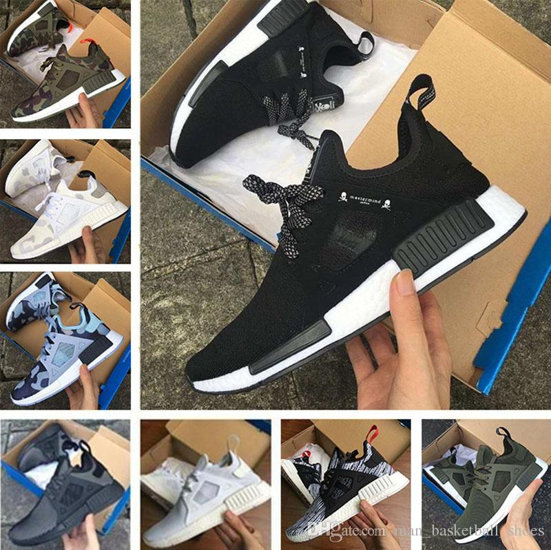 S32215 Adidas Men NMD XR1 Primeknit PK Glitch Camo Black Blue