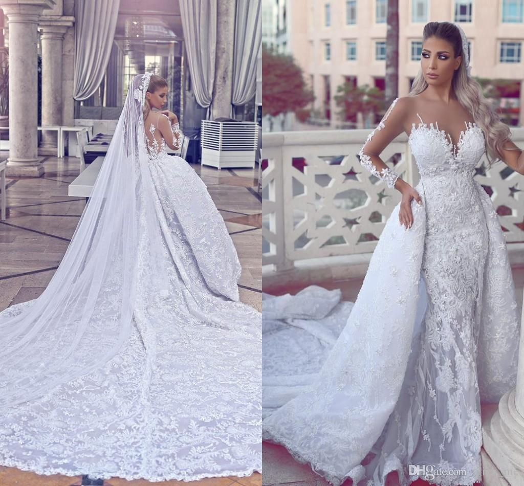 Discount Luxury Lace Wedding Dresses With Overskirt Sheer