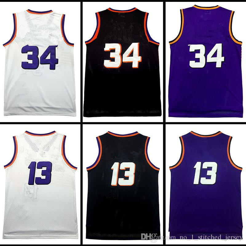Hommes 34 charles barkley # 13 Steve Nash Maillot de basket-ball blanc Purple ma