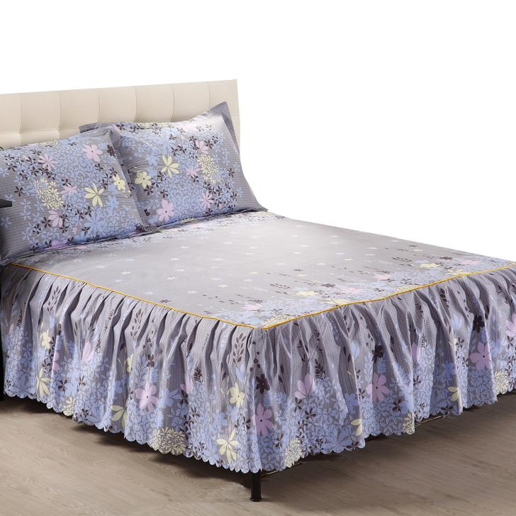 King Gray Bed Sheet Mattress Cover Bed Skirt Sets