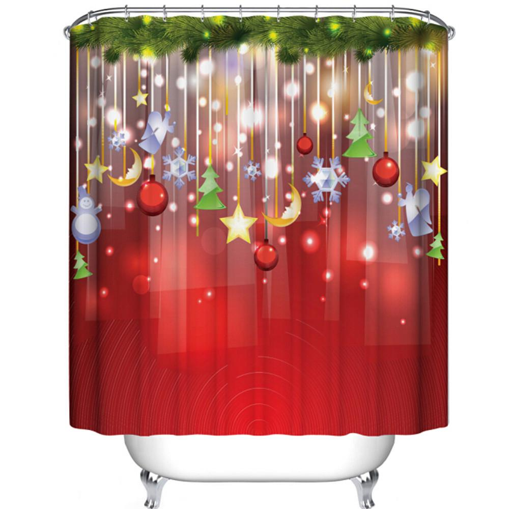 2017 wholesale 3d custom merry christmas fabric waterproof bathroom shower curtain u61108 from. Black Bedroom Furniture Sets. Home Design Ideas