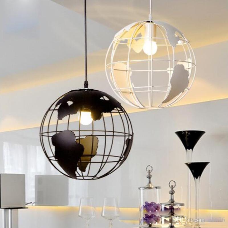 Modern Globe Pendant Lights Black/White Color Pendant Lamps For  Bar/Restaurant Hollow Ball Ceiling Fixtures Pendant Lamps Iron Pendant Lamps  Restaurant ...