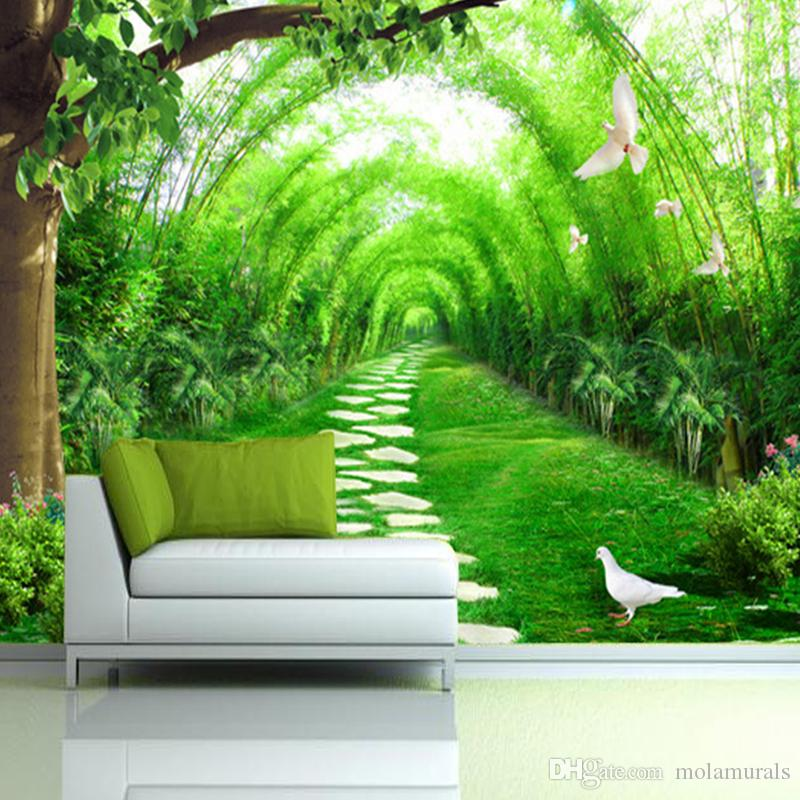 Custom Photo 3D Mural Wallpaper Fresh Bamboo Forest Road 3D Wall  Decorations Living Room Bed Room TV Backdrop Photo Wallpaper Photo Wallpaper  Painting Wall ... Part 55