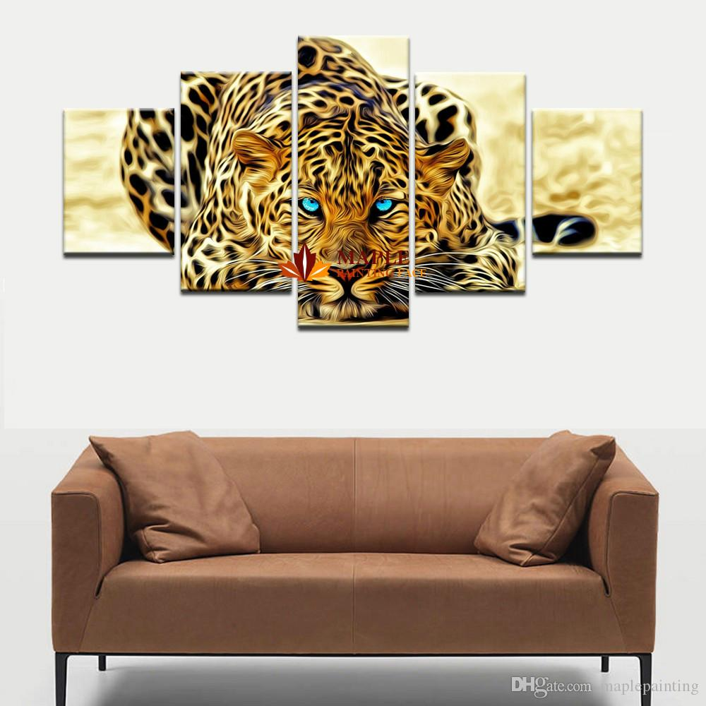 2017 wall decor painting abstract leopards wall art canvas for Piece of living room decor