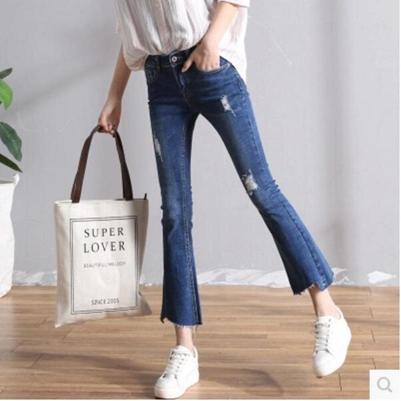 2017 2016 Winter Women'S Super Destructed Skinny Flare Jeans ...