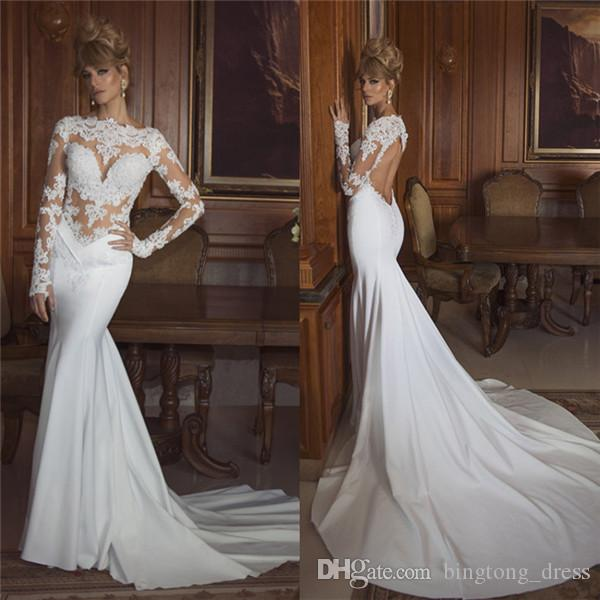 2017 Pnina Tornai Mermaid Wedding Dress Long Sleeve Sexy