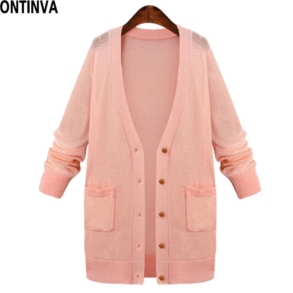 Free Size Women Pink Thin Cardigans Sweater Fashion Oversize ...
