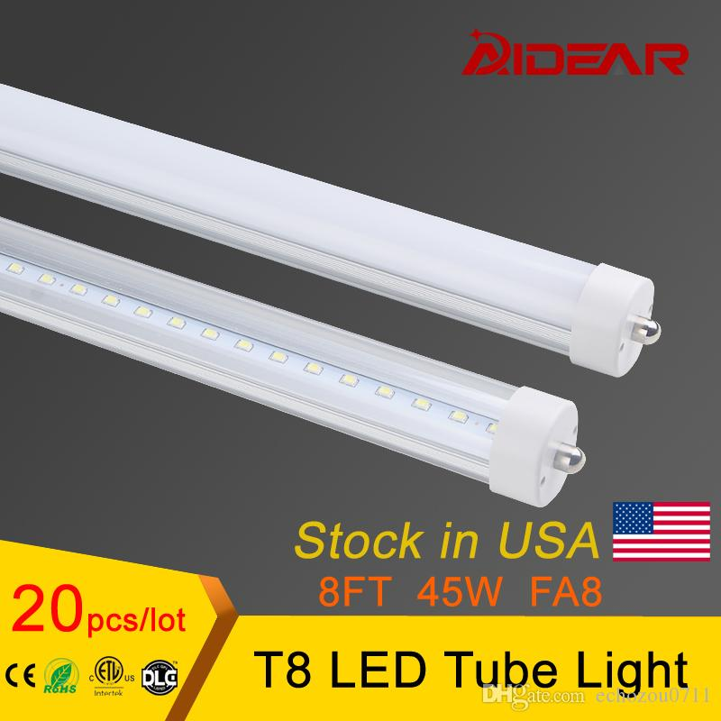 STOCK IN US + 45W Lampe à tube à LED de 8 pieds T8 2400mm AC85-277V FA8 LED à un