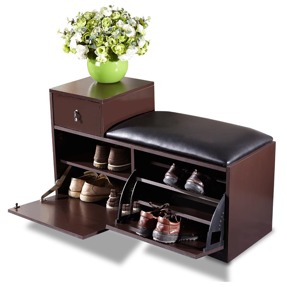 Brown Wood Shoe Bench Shoe Cabinet Rack With Ottoman Seat