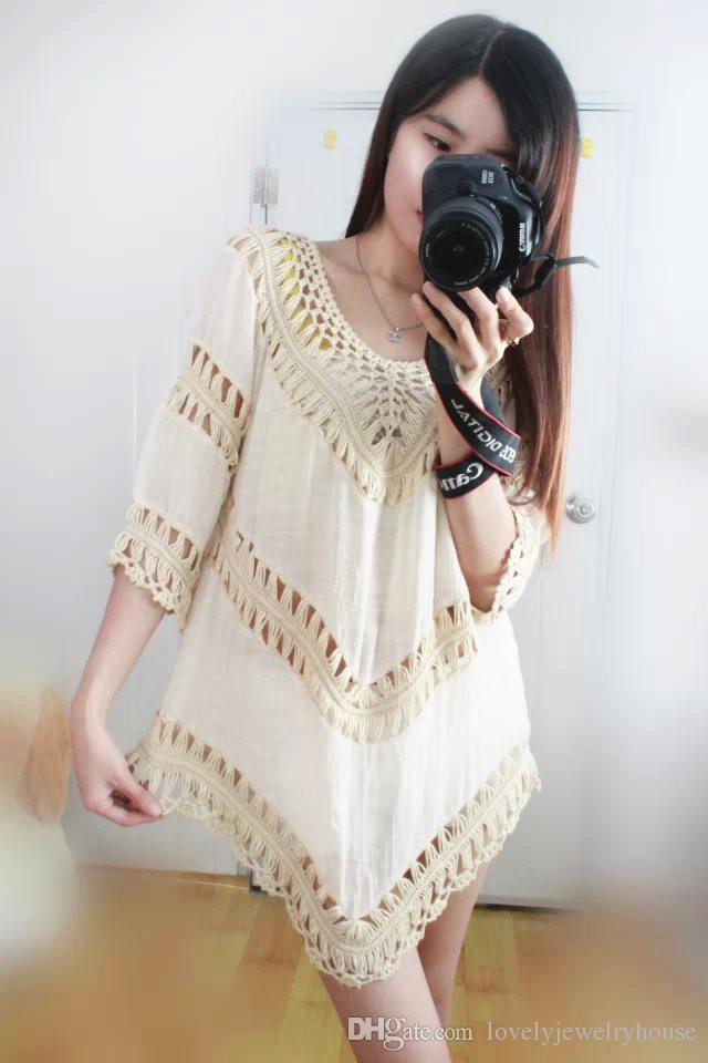 2017022525 Sexy V Neck Blanc Tunique Crochet Dentelle Top Femme Elegant Blouse D