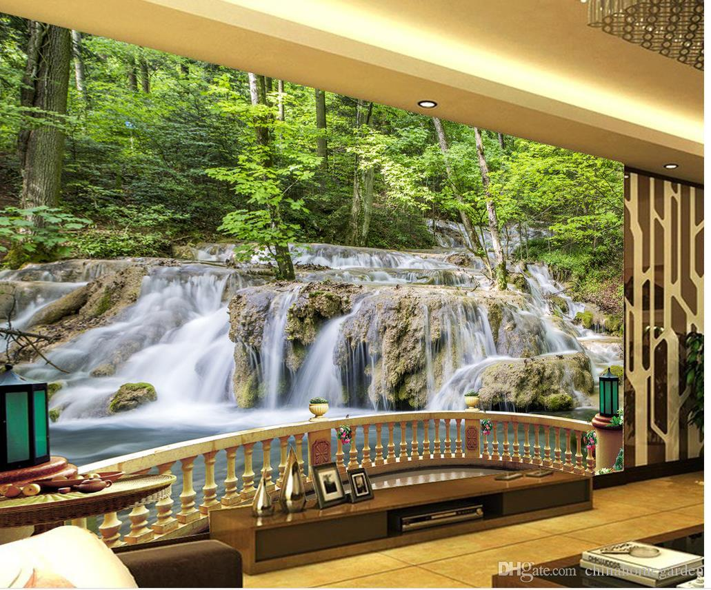 Custom any size hd landscape mural tv wall mural 3d for Custom size wall mural