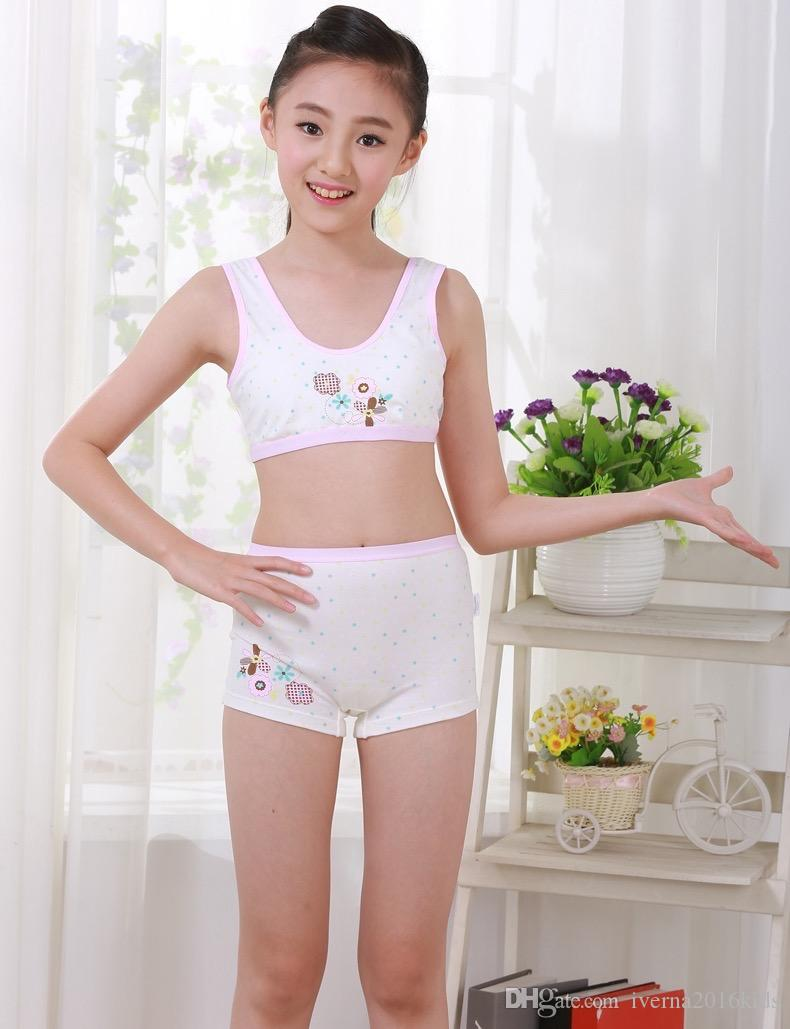 young girl underware New Puberty Young girl student Teenagers cotton underwear set with Training  bra camisole vest & panties