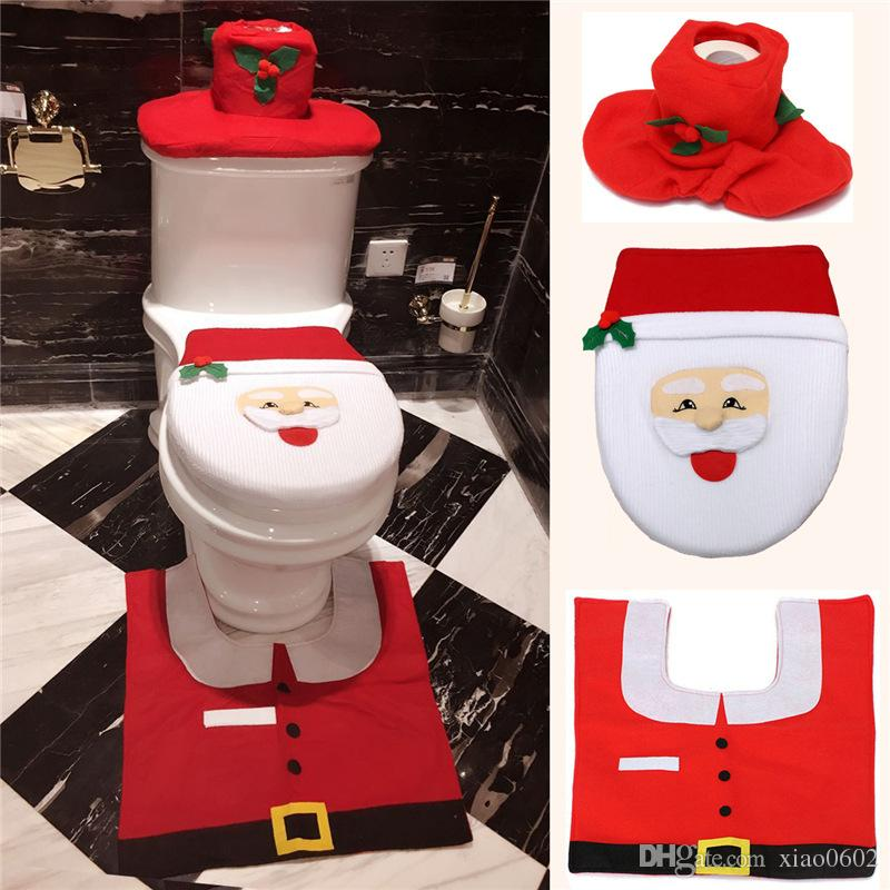 2016 Fancy Santa Toilet Seat Cover And Rug Bathroom Set Contour Rug Christmas