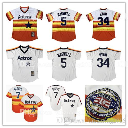 Houston Astros Broderie Nolan Ryan Baseball Jerseys Jeff Bagwell Craig Biggio Th