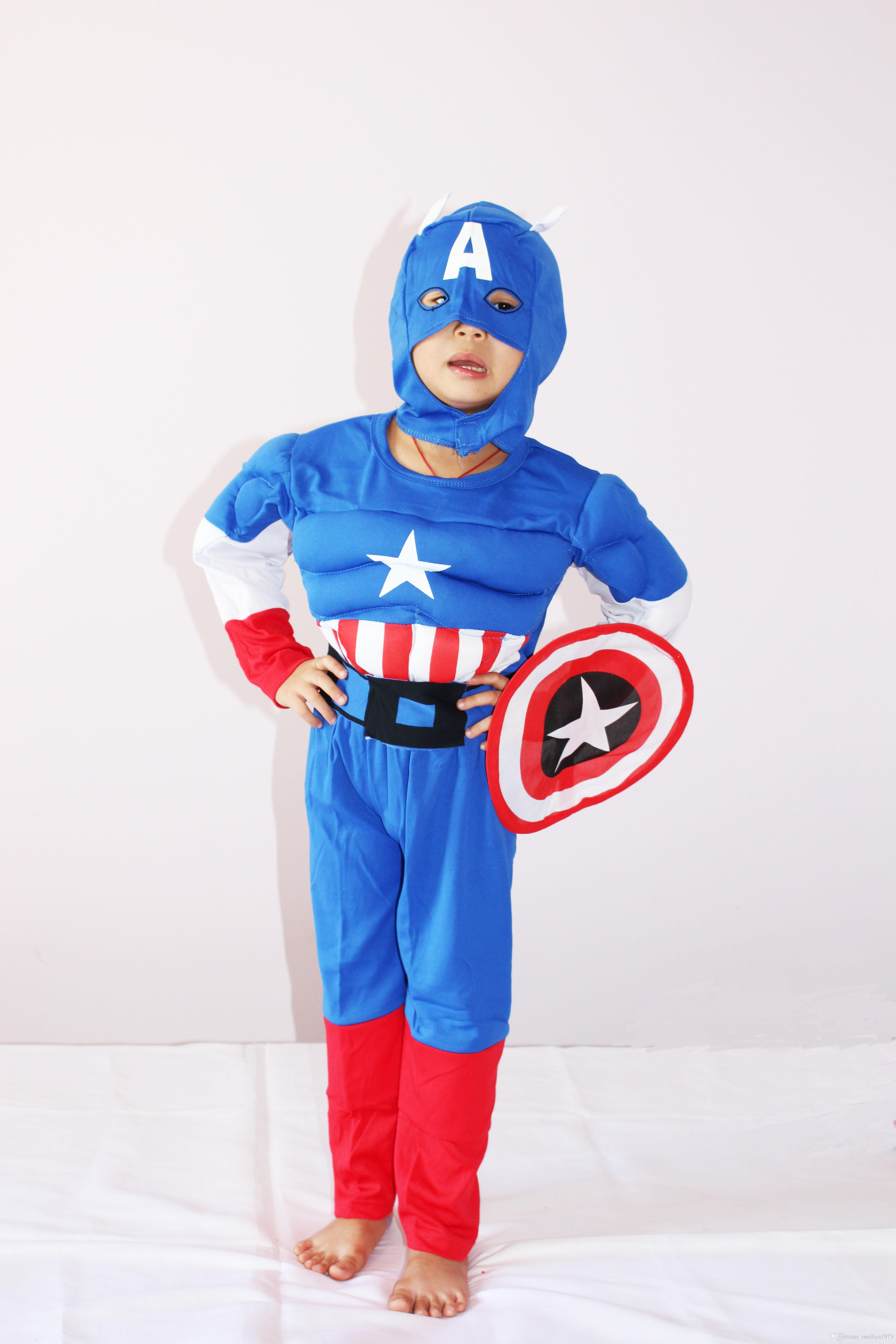 Royalblue 3-7years Party Kids Comic Marvel Captain America Muscle ...