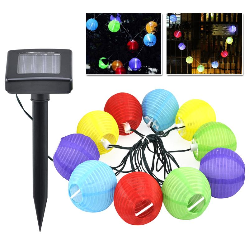 wholesale 10 garden coloured solar string led hanging lantern lights set chinese party bbq bbq bbq set light online with 2583piece on store