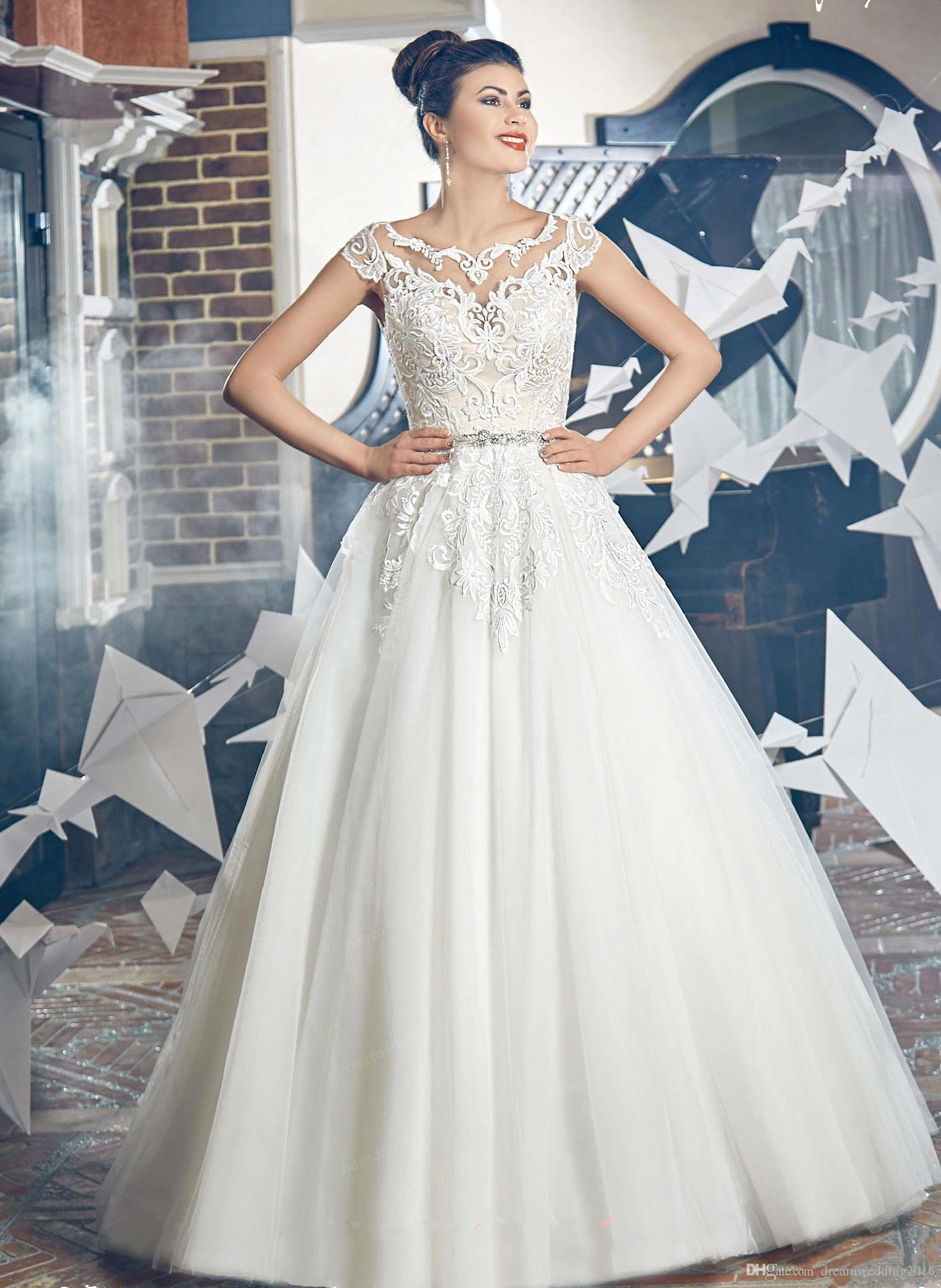 Discount 2017 y Arabia Cap Sleeves Wedding Dresses