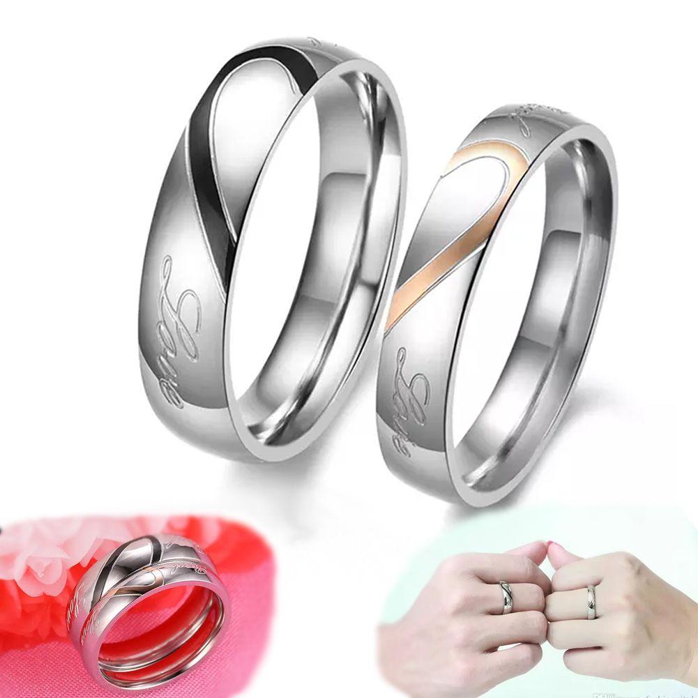 Couple Ring,Love Heart Hot Plating 18K Rose Gold Titanium ...