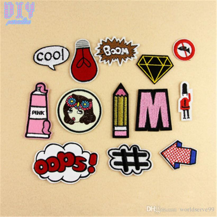 cool letters pencil iron on patches girl embroidered stickers applique badge hat bag clothing shoes fabric sewing crafts diy
