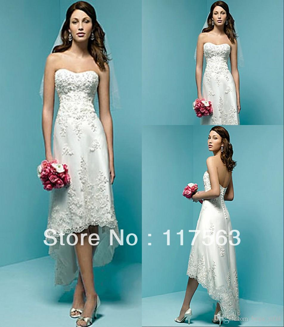 Discount built in bra strapless corset lace tea length for Bra for strapless wedding dress