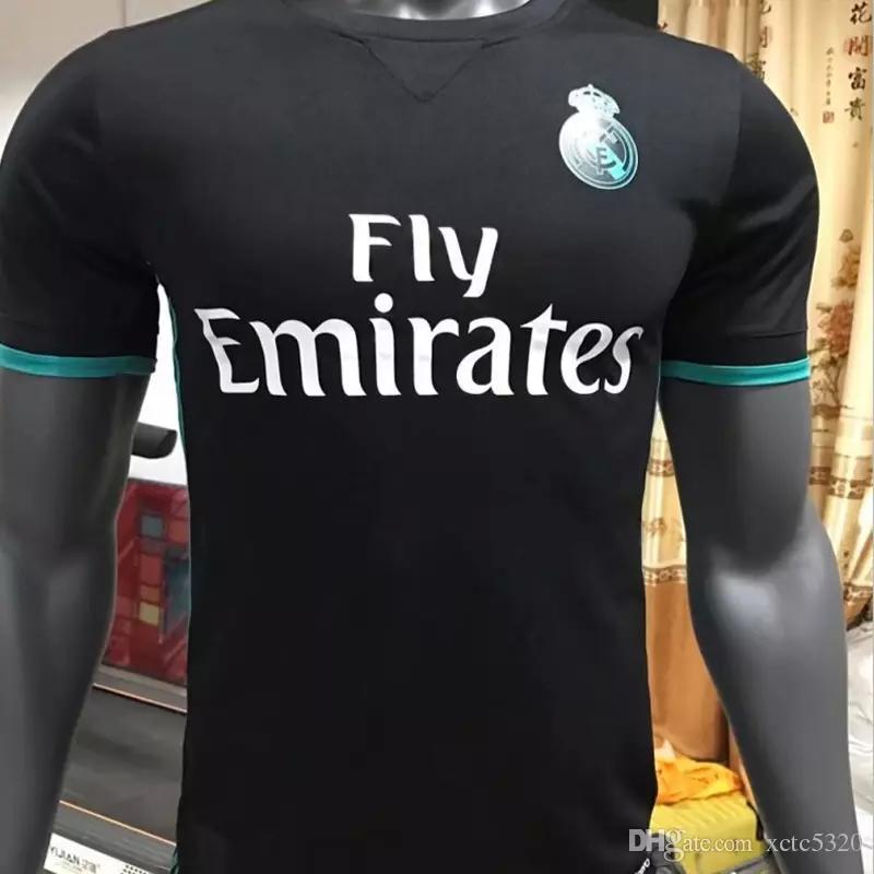 Version du joueur 2018 Away noir Maillot de football Real Madrid 17/18 Maillot d