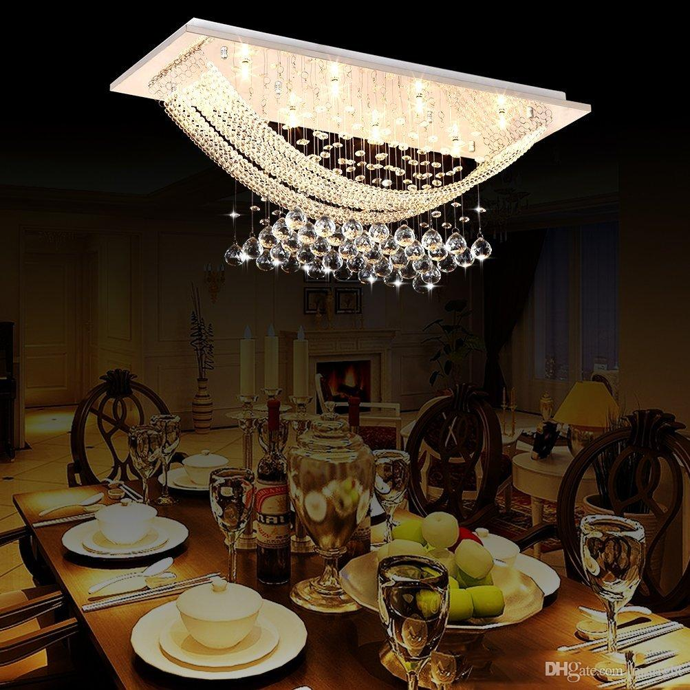 Best Price American Country Crystal Chandelier Dining Room Creative Rectangular Pendant Lamp LED Lighting RH Chandeliers