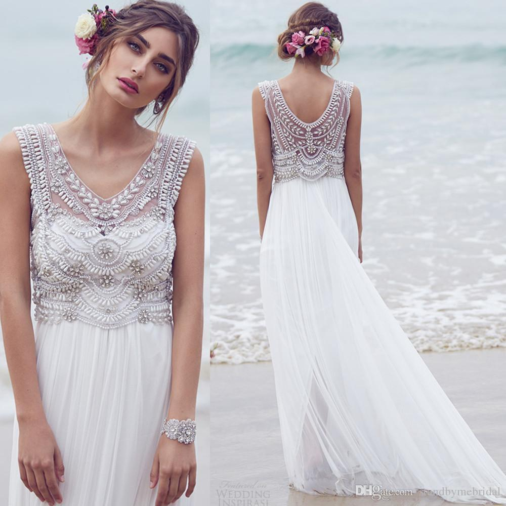 Discount anna campbell bohemian beach wedding dresses for Beach wedding dresses 2017