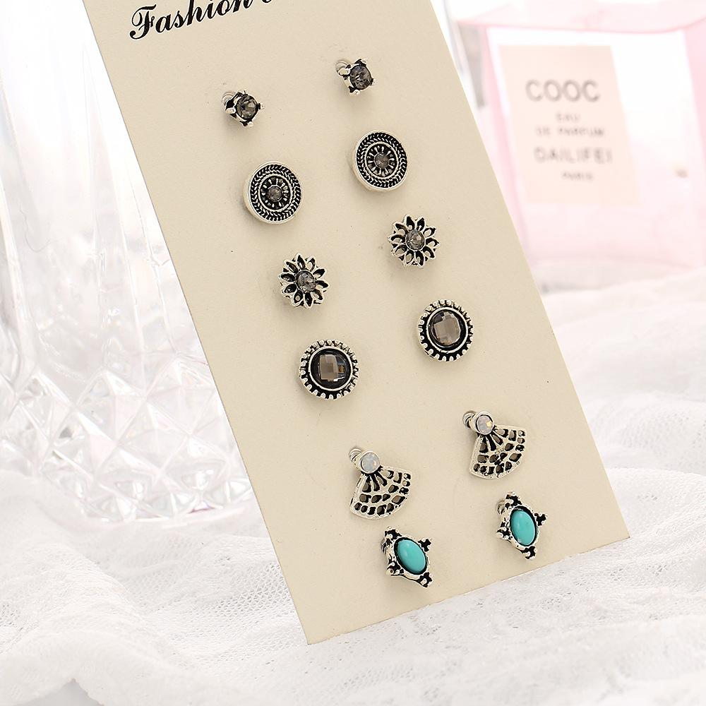 Vintage Cute Earring Sets Super Value 6 Pairs Set Round Square Ball Alloy  Crystal Turquoise Stone